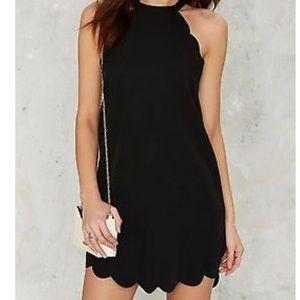 first love black scallop mini dress